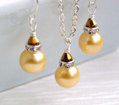 Yellow Bridesmaid jewelry set yellow necklace by LaurinWedding, $14.00