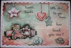 "Painted plaque (acrylics), personalized for a young mother, who is going to have a baby girl. The whole painting was made by hand - no stencils! ""Twinkle, twinkle, little star... Do you know how loved you are?"" The inscription was painted with the paintbrush, not written with a marker. Placă pictată, personalizată pt. o tânără mămică, pe cale să dea naştere unei fetiţe.  Întreaga pictură a fost făcută fără şablon. Inscripţia a fost pictată cu pensula, nu scrisă cu carioca. #woodpainting…"