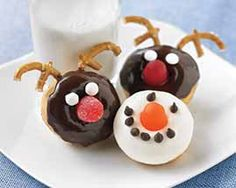 Reindeer or Snowman Donuts Recipe - Dip our Mini Donuts in chocolate and decorate to make darling Mini Donut Reindeer and Mini Donut Snowmen. #Schwans #EasyRecipes #Inspiration
