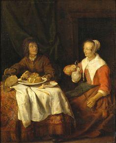 Gabriël Metsu - Man en vrouw aan de maaltijd