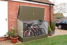 The shed story: bicycle shed Rowlinson ft. W x 3 ft. D Metal Horizontal Bike Shed Bicycle Storage Shed, Outdoor Bike Storage, Bicycle Garage, Bike Shed, Backyard Storage, Steel Storage Sheds, Wooden Storage Sheds, Shed Storage, Locker Storage