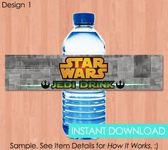 Star Wars Water Bottle Labels Darth Vader Water Bottle Labels