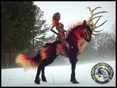 Woodsplitterlee Poseable FIRE Stag and Rider