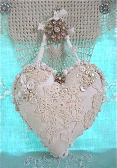 White lace shabby chic heart