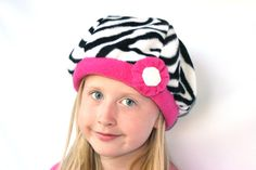 Zebra and Hot Pink Fleece Beret lined with Flannel by happywalrus