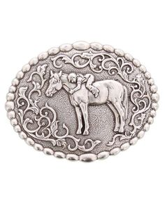"Christmas gift idea under $20 - Stocking Stuffer - Nocona Youth's ""First Love"" Horse Buckle -  This oval buckle is a tribute to the timeless love between girls and horses. #stockingstuffer #giftideas #christmasgiftideas"