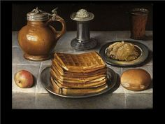 Circle of George Flegel, 17th century. Note waffles.