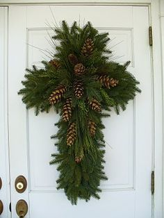 Cross Wreath with Evergreens and Pinecones. This is absolutely gorgeous! I HAVE to do this for Christmas.so simple yet so elegant and symbolic! Noel Christmas, Winter Christmas, All Things Christmas, Christmas Wreaths, Xmas, Christmas Ideas, Christmas Greenery, Holiday Crafts, Holiday Fun