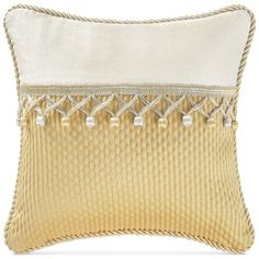 """Waterford Juliette Ivory 14"""" x 14"""" Decorative Pillow ($55) ❤ liked on Polyvore featuring home, home decor, throw pillows, ivory, cream colored throw pillows, ivory throw pillows, beige throw pillows, off white throw pillows and cream throw pillows"""