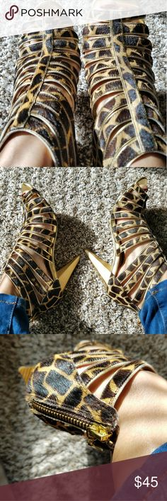 BCBG Strappy Heels Brown, oatmeal, brown, gold. Real leather. Giraffe print. 4 inch heels. Perfect condition except for the soles. They have always been kept in box. BCBGirls Shoes Heels