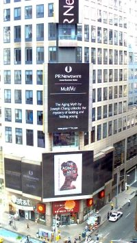 NYC promotion. Check it out! The Aging Myth makes an appearance in Times Square in New York City.