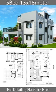 Home design plan 13x18m with 5 Bedrooms - Home Design with Plansearch