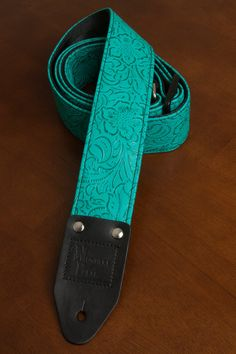 Turquoise Embossed Vinyl Guitar Strap by nowherebearstraps on Etsy, $70.00