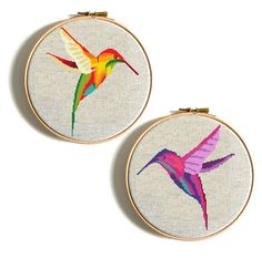 Colourful Hummingbird cross stitch pattern, Embroidery Chart, Animal Counted Cross Stitch Easy Funny Birthday DIY gift Watercolor Geometric Decor No240 Set 2 in 1 This is a digital item. The PDF file of the pattern will be available for instant download once payment is confirmed.