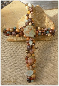 "Beaded Wire Wall Crosses, Hand sculpted beaded wire wall crosses.  Each beaded is sewn onto wire by hand with wire.  Beads are glass, metal, gemstone and crystal. , 8"" Beaded Wire Wall Cross. Brown, sage, cream, brass beads., Home Decor Project"