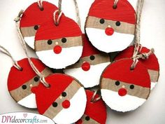 Santa Christmas Ornament 5 Pieces, Rustic Christmas Ornament, Christmas Gift Tag, Wooden Christmas Decorations - Best ROUTINES for Healthy Happy Life Wooden Christmas Decorations, Rustic Christmas Ornaments, Santa Ornaments, Christmas Gift Tags, Christmas Crafts For Kids, Xmas Crafts, Kids Christmas, Santa Crafts, Christmas Crafts For Kindergarteners