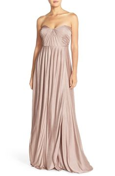 Jenny Yoo 'Demi' Convertible Strapless Pleat Jersey Gown