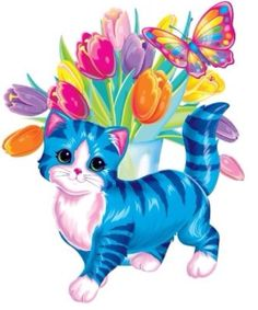 Lisa Frank cat, flowers, butterfly