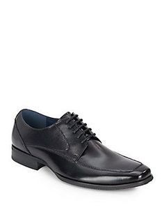Steve Madden Tazer Leather Derby Shoes - Black Leather - Size