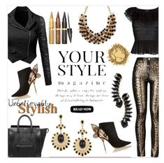 """""""Black and Gold"""" by delucia ❤ liked on Polyvore featuring Alexander McQueen, Jules Smith, Sophia Webster, Etro, CÉLINE, Pussycat and blackandgold"""