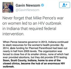 Governor Mike Pence was responsible for an HIV outbreak in IN that required rescue from the Federal Government.