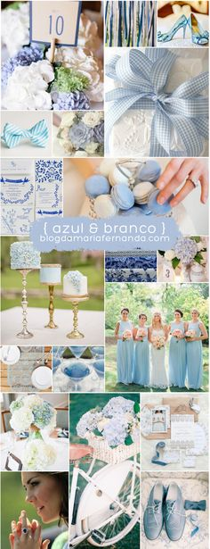 Decoração de Casamento : Paleta de Cores Azul e Branco…