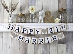 21st birthday banner happy birthday banner by WeddingBannerLove