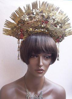 Vintage tiara Sumatra Indonesia wedding headdress crown headpiece (AAQ). $160.00, via Etsy.
