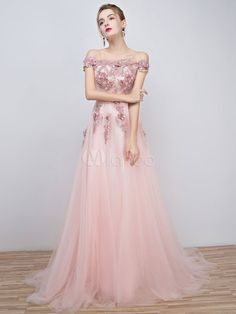 Pink Prom Dresses 2017 Long Tulle Off The Shoulder Prom Dress Lace Applique Beading Flower Occasion Dress With Train & Wedding > Occasion Dresses > Prom Dresses Prom Dresses Long Pink, Prom Dresses 2018, Cheap Evening Dresses, Cheap Prom Dresses, Prom Dress With Train, Robes D'occasion, Prom Outfits, Asymmetrical Dress, Occasion Dresses