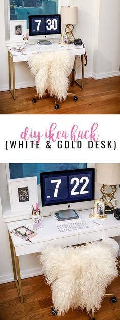 DIY IKEA Hack: Here's how to make the white + gold desk of your dreams! Super easy project! #ad