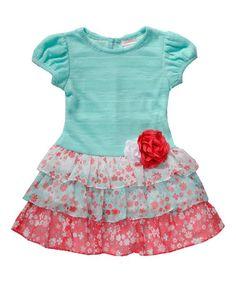 Look at this #zulilyfind! Turquoise & Pink Floral Tiered Dress - Toddler & Girls #zulilyfinds