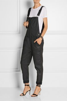 Current/Elliott The Ranchhand coated stretch-denim overalls $350