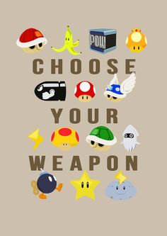 "Nerd alert: Nintendo Mario Kart ""Choose Your Weapon"" Nintendo Mario Kart, Nintendo Room, Mario Wii, Nintendo Party, Nintendo Games, Mario Party, Mario Birthday Party, Sonic Birthday, 30th Birthday"