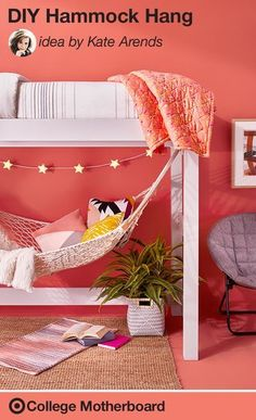 """Love, love, love this hammock idea that Mom pinner, Kate Arends came up with for any college space. """"Lofted beds provide just enough space for a cozy nook. Add a hammock, rug, chair, lamp and some magazines. Perfect for entertaining, or more preferably, studying."""" This pin was made by Moms, for Moms to make sending any student off to college easy, thanks to the On to College Motherboard."""