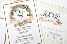 Wreath Monogram Wedding Invitation from bt elements. Customize yours with Paper Passionista. Monogram Wedding Invitations, Wedding Party Invites, Wedding Paper, Custom Invitations, Wedding Stationery, Floral Wedding, Party Invitations, Lily Wedding, Invitation Paper