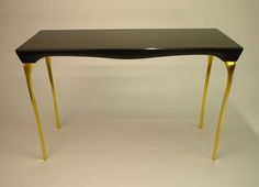 Contemporary Black and Gold Console Table by Kinsley Byrne | From a unique collection of antique and modern console tables at https://www.1stdibs.com/furniture/tables/console-tables/