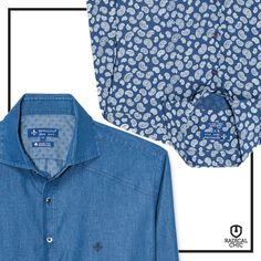 Blusa jeans estampada ou lisa? #RadicalChic #Dudalina #Moda #Homem #Jeans