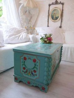 folk art painted trunk as a coffee table