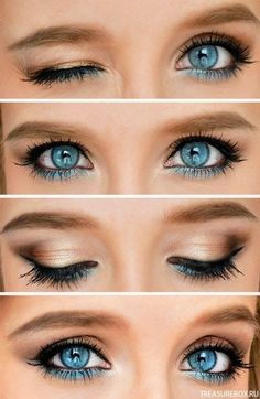 Eye Makeup Tips.Smokey Eye Makeup Tips - For a Catchy and Impressive Look Blue Eye Makeup, Skin Makeup, Blue Eyeshadow, Makeup Eyeshadow, Prom Makeup, Wedding Makeup, Dress Makeup, Bridesmaid Makeup, Barbie Makeup