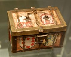 Small casket of painted wood and iron, bearing heraldic shields. 15th century, Cologne