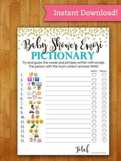 Baby Shower Game Pictionary   EMOJI Pictionary   Teal Mint And Gold    Instant Printable Digital Download   Diy Baby Shower Printables BOY