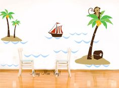 Vinyl Wall Decal Nursery Palm Trees with Monkey by missymoovinyl, $90.00