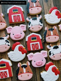 Made farm animal themed cookies for a birthday! Farm Birthday Cakes, 2nd Birthday Party Themes, First Birthday Parties, First Birthdays, 3rd Birthday, Birthday Ideas, Farm Animal Party, Farm Animal Birthday, Party Animals