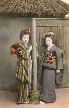 Two Osaka Maiko 1910s . Two maiko (apprentice geisha) from Osaka, Japan, beside a studio set of a rustic teahouse. Text and image via Blue Ruin 1 on Flickr