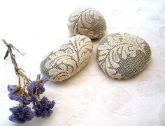 Lace, Crochet Stones, 3 decoration table in Vintage,Folk Art, Home decor,Mix Media. on Etsy, $35.00