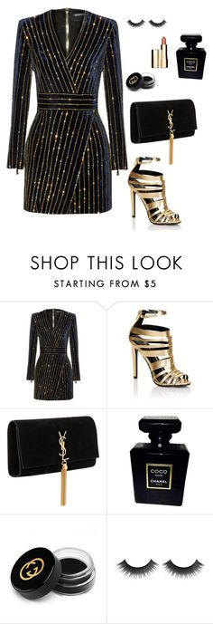 """""""Black and Gold"""" by kellyamber1993 ❤ liked on Polyvore featuring Balmain, Lipsy, Yves Saint Laurent, Chanel, Gucci and Clarins"""