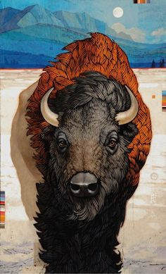 Craig Kosak - Paintings Bison, putting this under Native American because it reminds me of that. Native American Pictures, Native American Art, American Bison, Buffalo S, Buffalo Painting, Illustration Photo, Southwest Art, Native Art, Native Indian