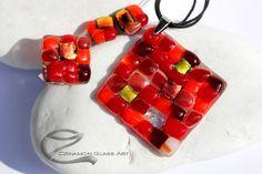 Piros árnyalatok, mozaik, üvegékszer szett Glass Jewelry, Jewelry Sets