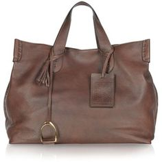 Ralph Lauren Collection Vintage Brown Soft Leather Saddle Tote