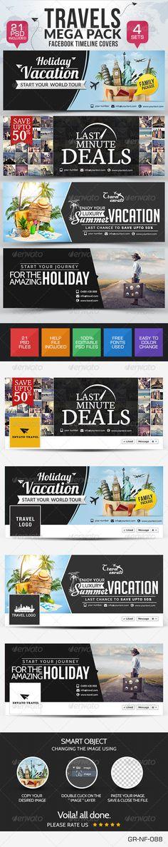 Travel Facebook Cover Bundle - 4 Designs